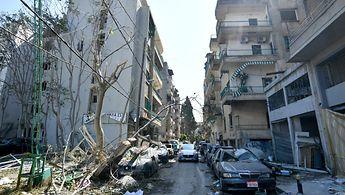 Ein Straßenzug in Beirut nach der Explosion